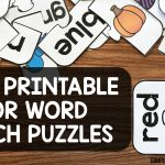 Free Printable Color Word Match Puzzles   Simply Kinder   Printable Office Puzzles