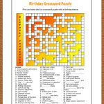 Free Printable Crossword Puzzle For Kids. The Theme Of This Puzzle   Printable Birthday Crossword Puzzles
