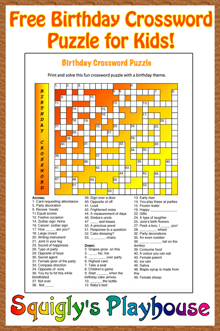 Free Printable Crossword Puzzle For Kids. The Theme Of This Puzzle - Printable Birthday Crossword Puzzles