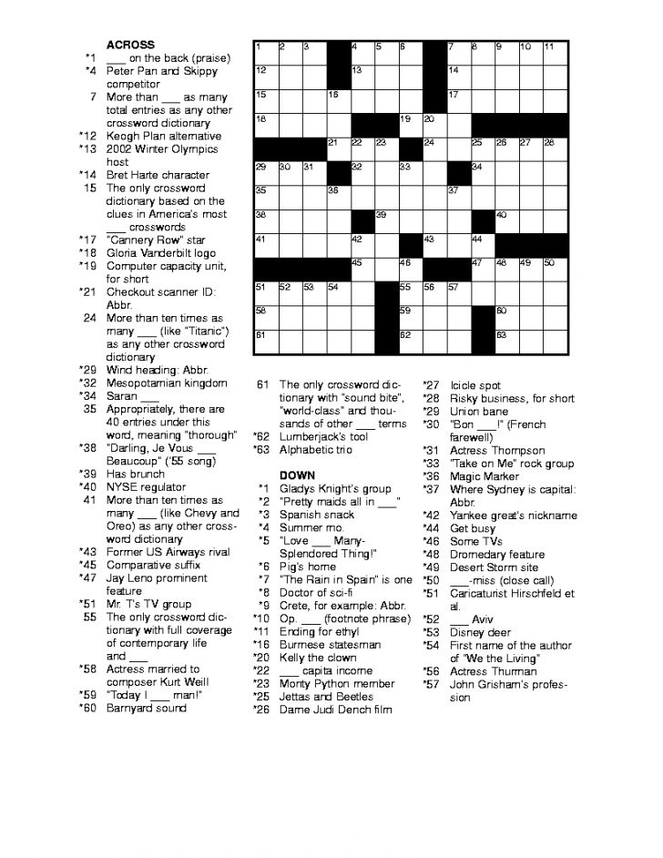 Printable Crossword Puzzles Entertainment