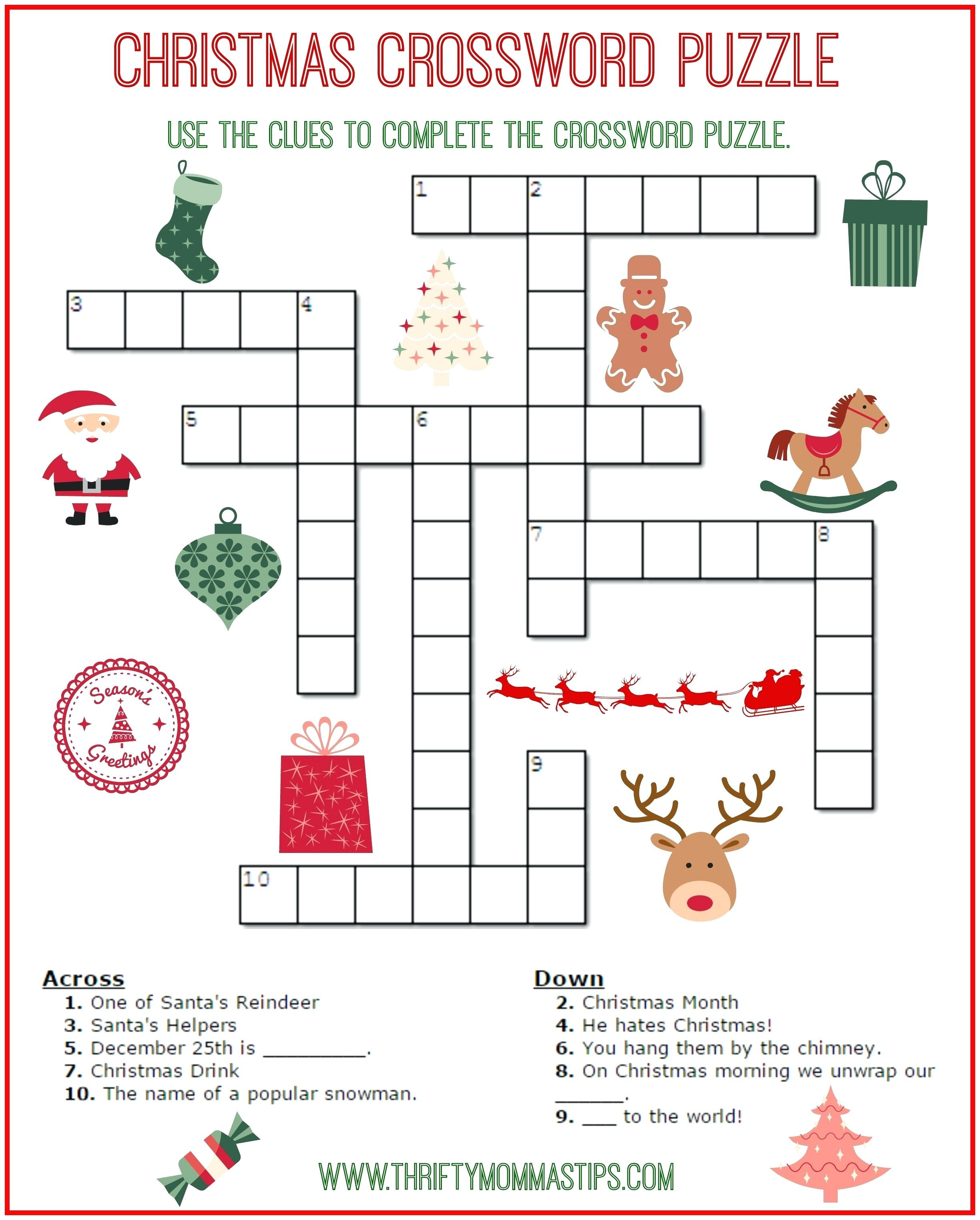 Free Printable Crossword Puzzles For Kids State Capitals Crossword - Free Printable Crossword Puzzles For Grade 6