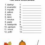 Free Printable   Fall Word Unscramble | Games For Senior Adults   Printable Unscramble Puzzles