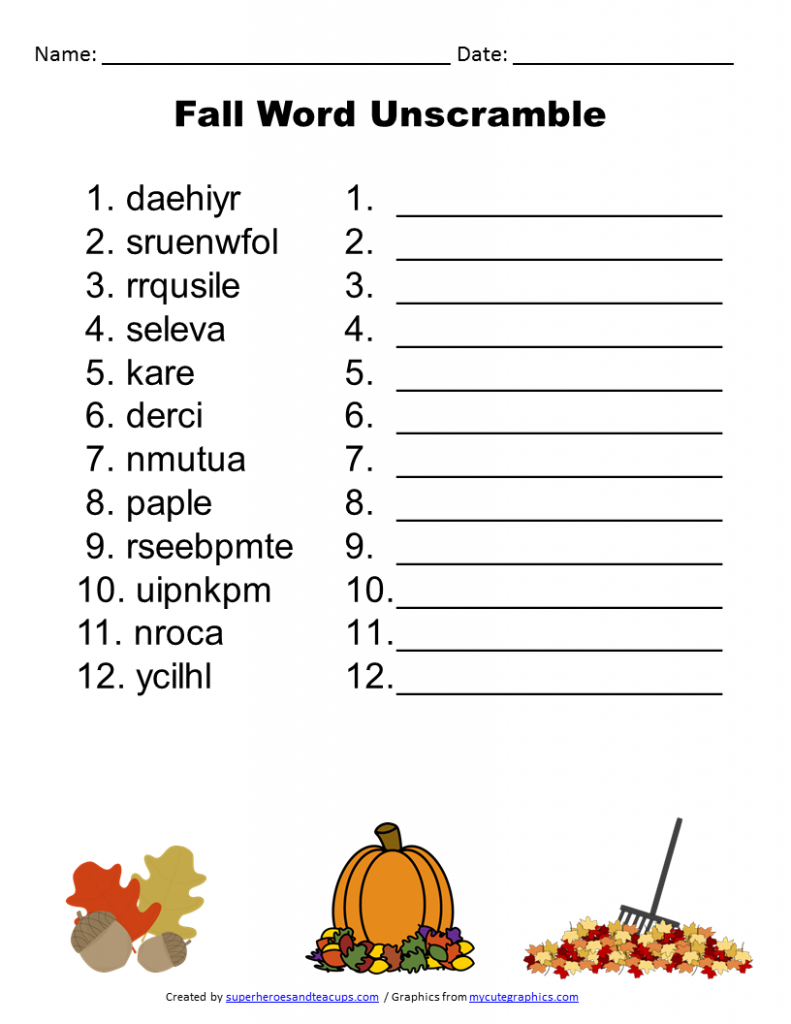 Free Printable - Fall Word Unscramble | Games For Senior Adults - Printable Unscramble Puzzles