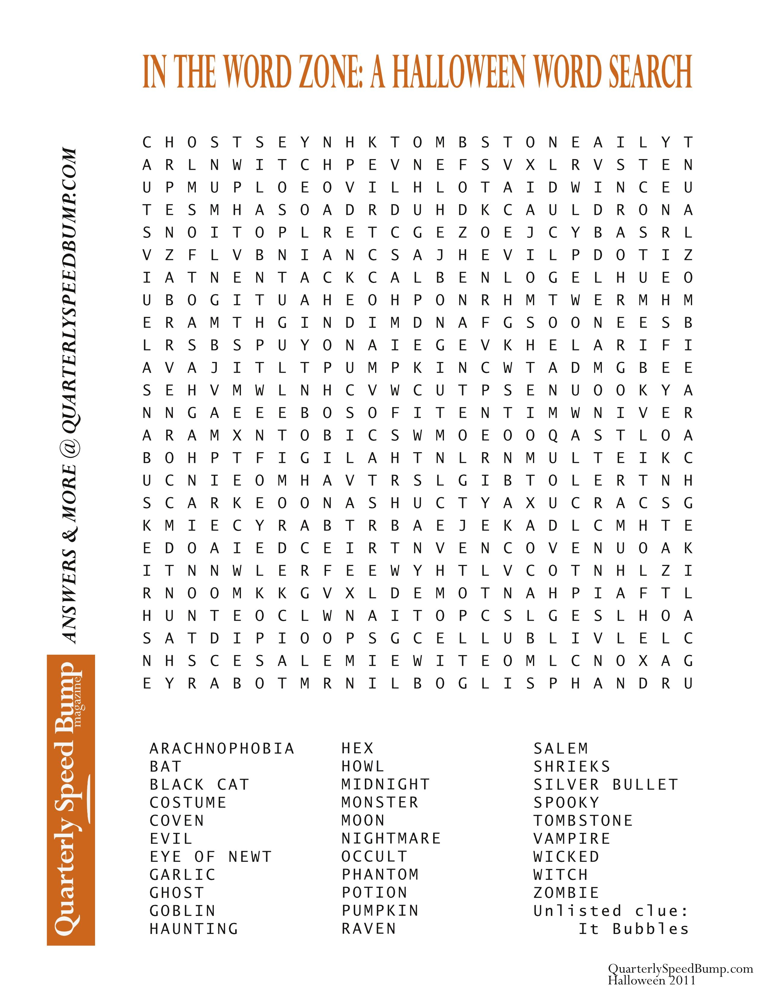 Free Printable Halloween Word Search Puzzles | Halloween Puzzle For - Halloween Crossword Puzzles For Adults Printable