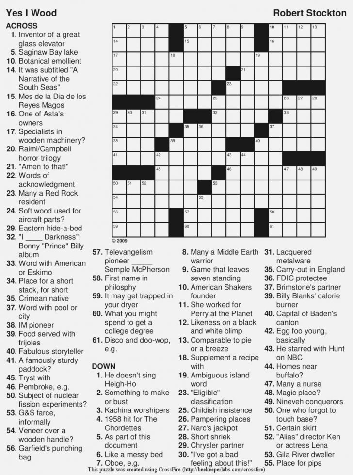 Free Printable Large Print Crossword Puzzles