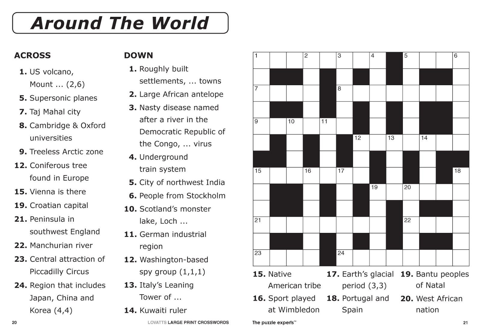 Free Printable Large Print Crossword Puzzles | M3U8 - Printable Crossword For 8 Year Olds