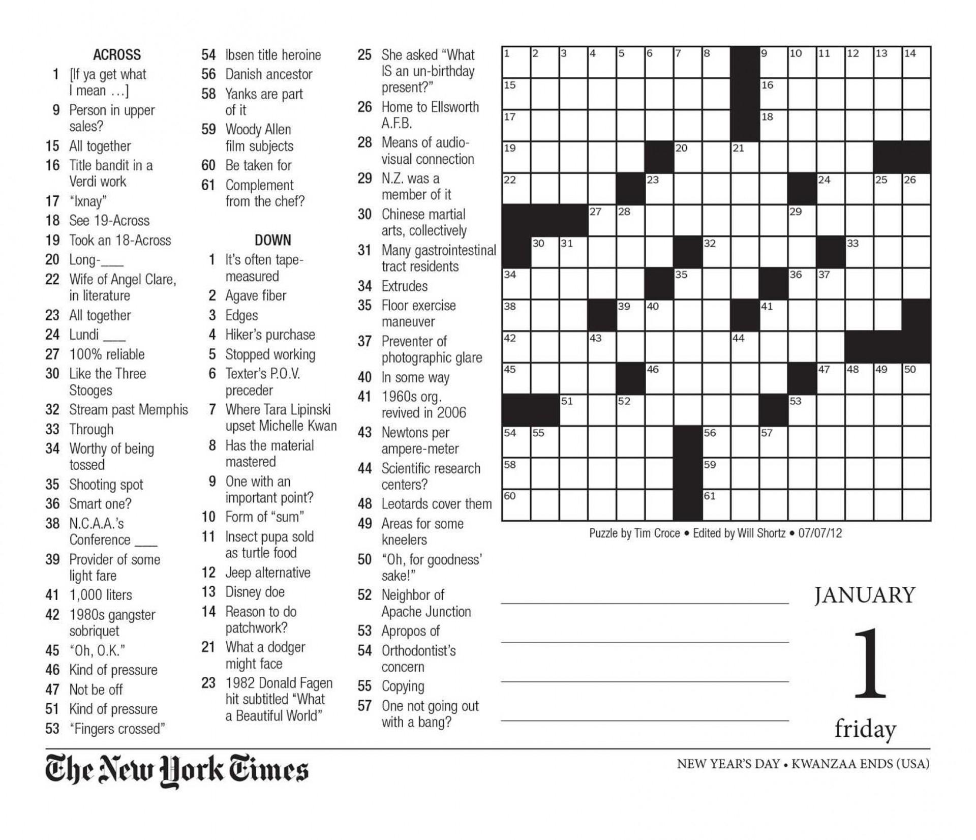 Free Printable Large Print Crossword Puzzles | M3U8 - Printable Crossword Puzzle For Seniors