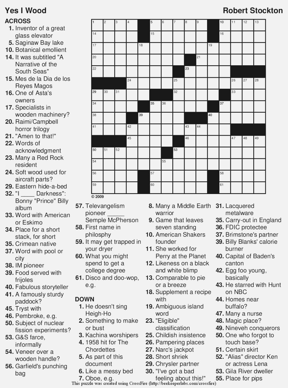 Free Printable Large Print Crossword Puzzles | M3U8 - Printable Crossword Puzzles By Category