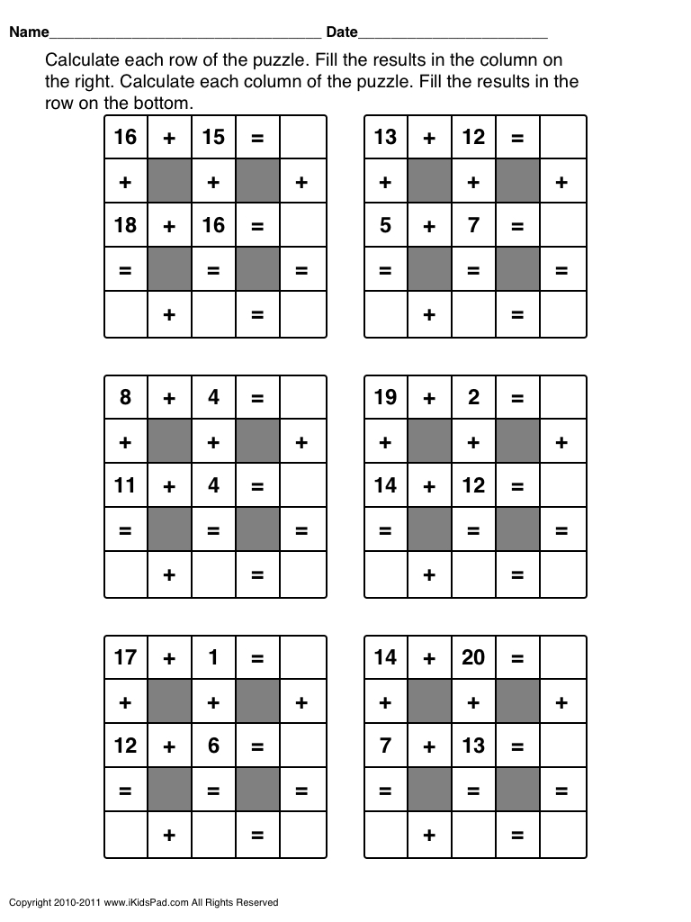 Free Printable Math Games For First Grade Students | Clasa 0 | Maths - Printable Crosswords For 1St Grade