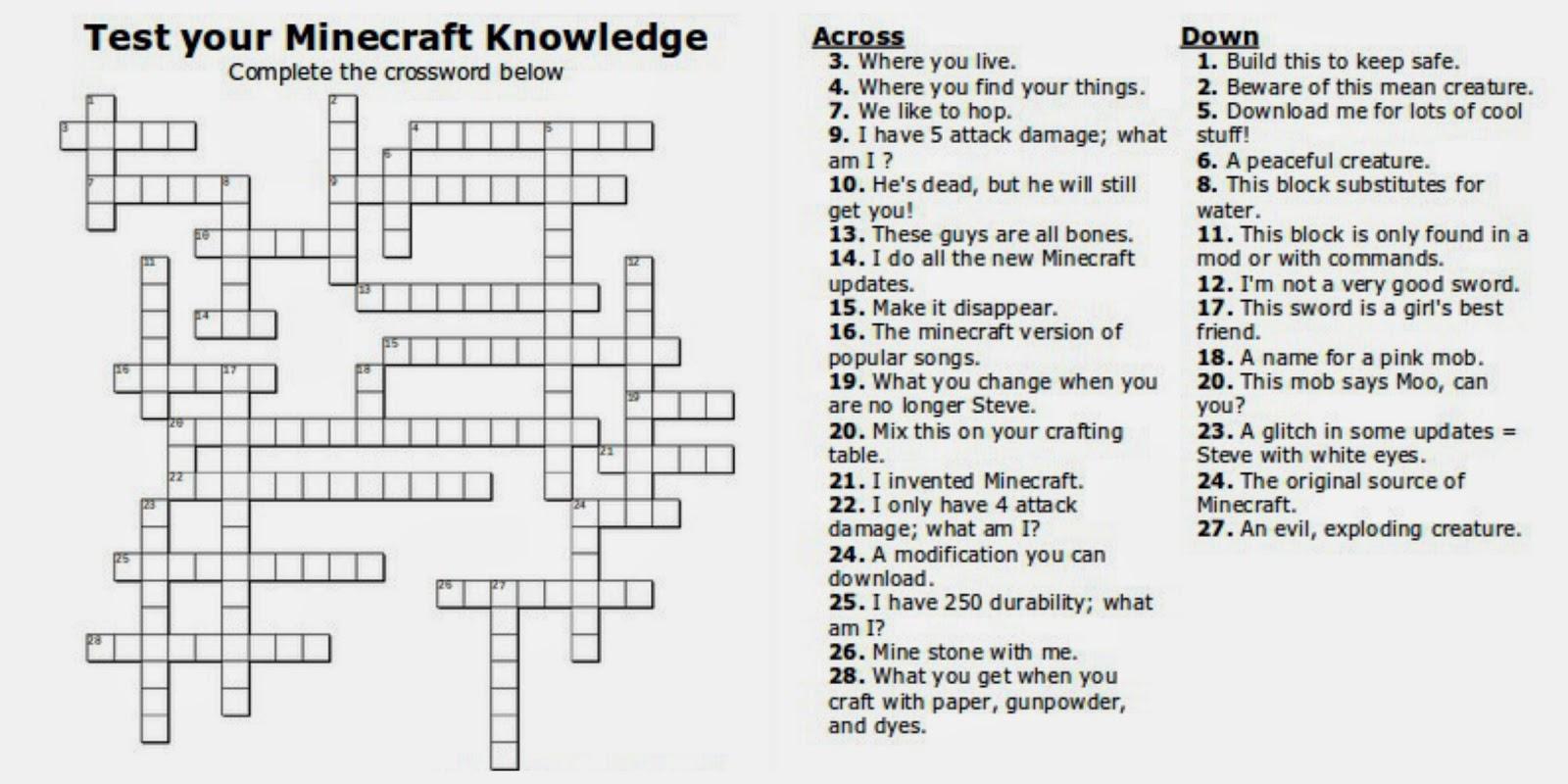 Free Printable Minecraft Crossword Search: Test Your Minecraft - Printable Crossword Puzzles For Teens