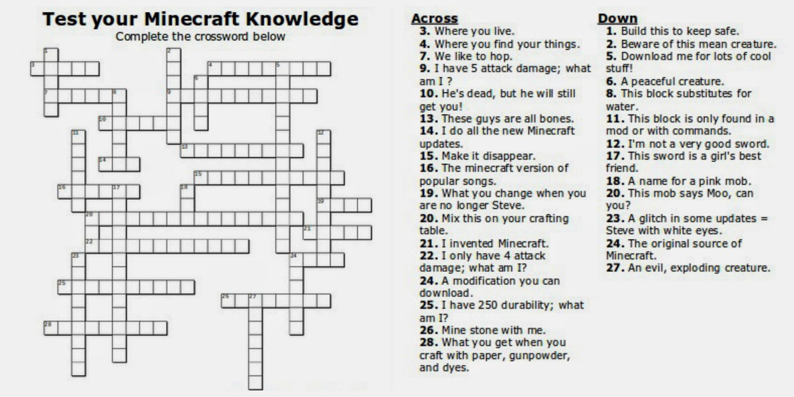 Free Printable Minecraft Crossword Search: Test Your Minecraft - Printable Teenage Crossword Puzzles