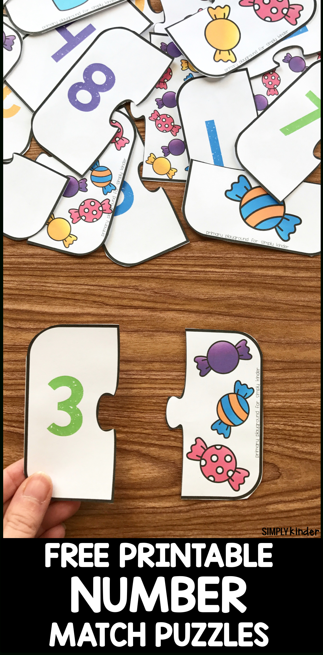 Free Printable Number Match Puzzles - Simply Kinder - Printable Puzzle For Kindergarten