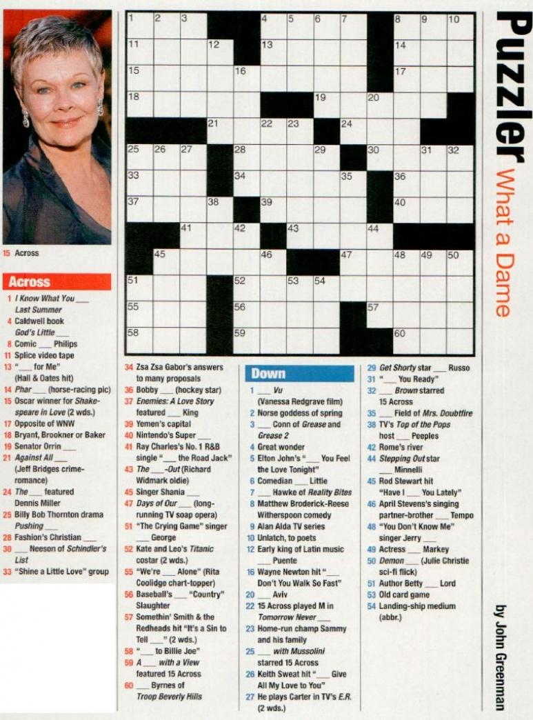 Free Printable People Magazine Crossword - Printable People Crossword Puzzles