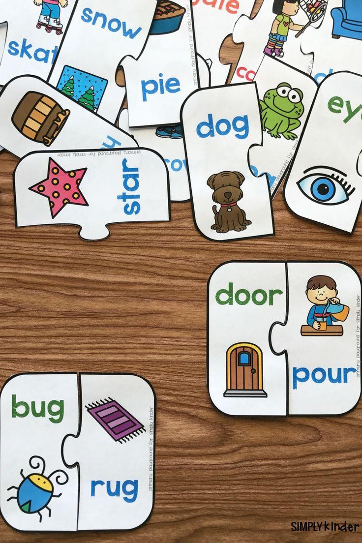 Free Printable Rhyming Puzzles | I ♥ Kindergarten | Pinterest - Printable Puzzles Kindergarten