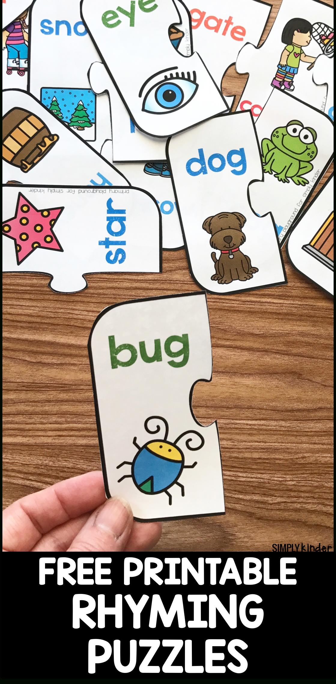 Free Printable Rhyming Puzzles - Simply Kinder - Printable Floor Puzzle
