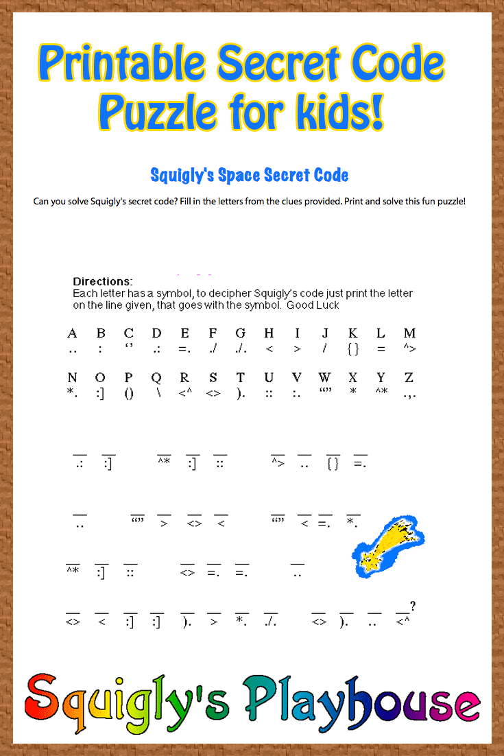Free Printable Secret Code Word Puzzle For Kids. This Puzzle Has A - Free Printable Puzzles For 3 Year Olds