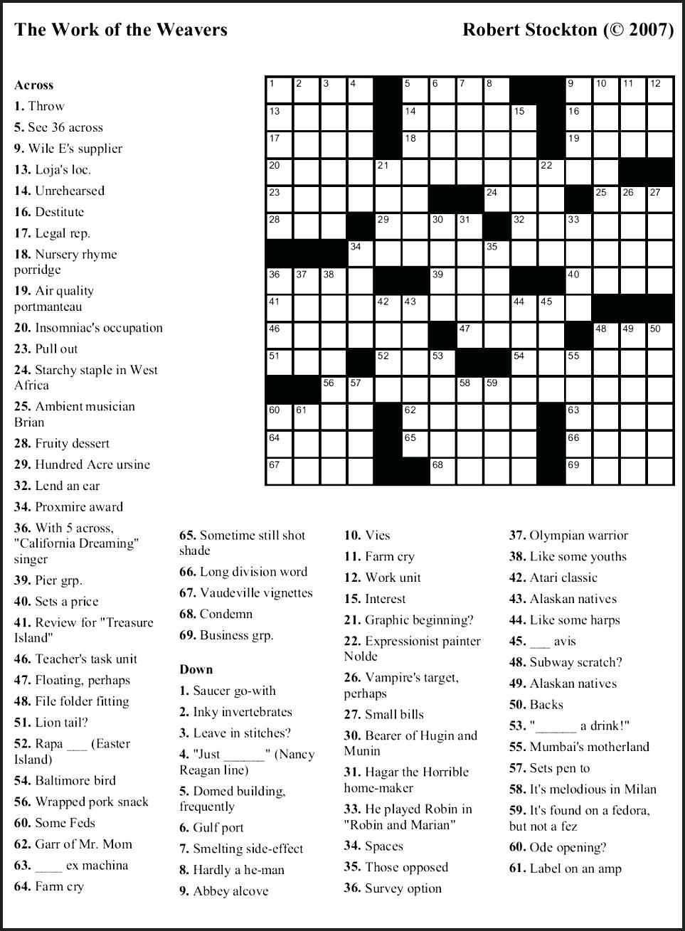 Free Printable Themed Crossword Puzzles – Myheartbeats.club - Printable Crossword Puzzles June 2018