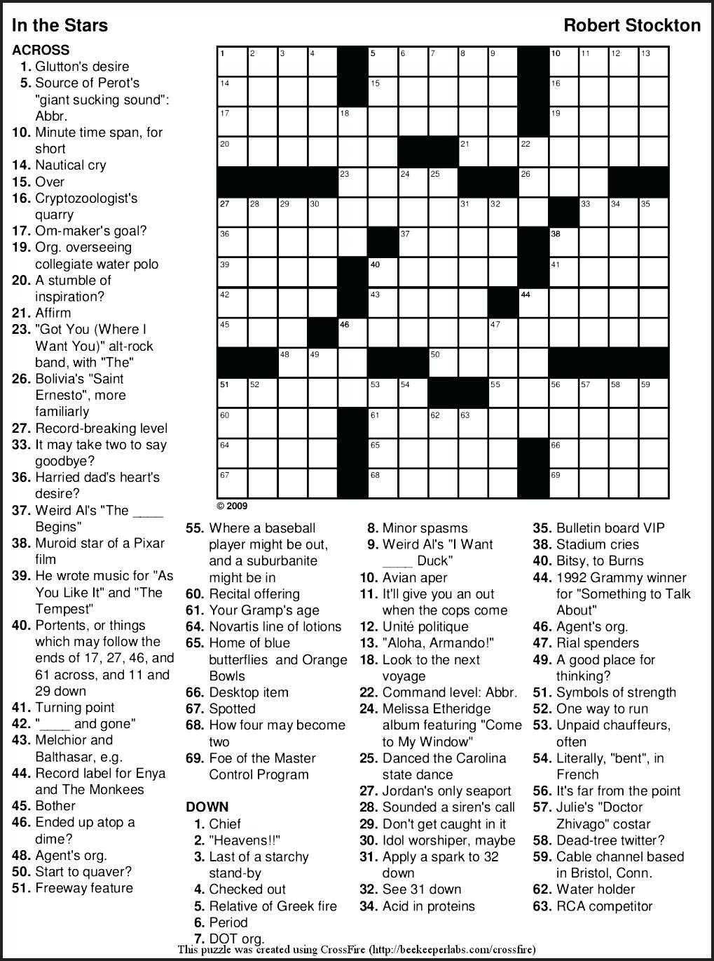 Free Printable Themed Crossword Puzzles – Myheartbeats.club - Printable Crossword Puzzles May 2018