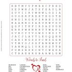 Free Printable   Valentine's Day Or Wedding Word Search Puzzle In   Free Printable Bridal Shower Crossword Puzzle