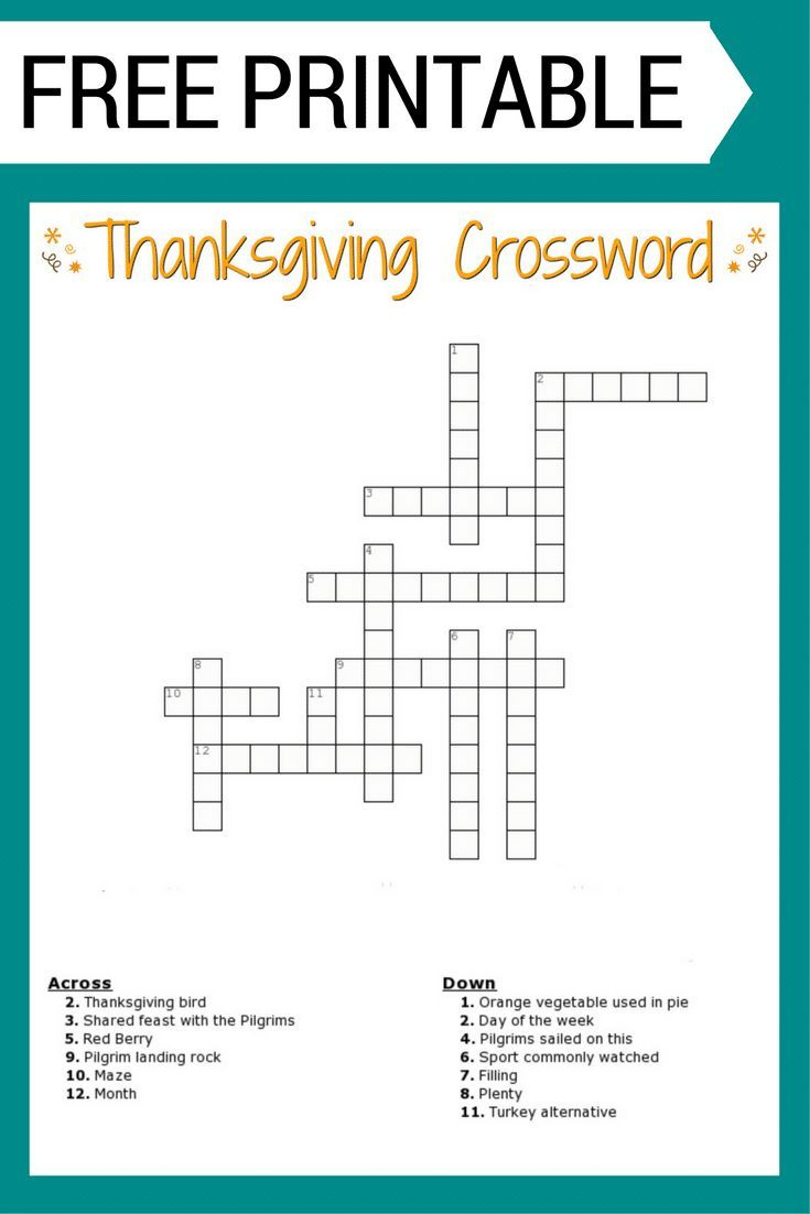 Free #thanksgiving Crossword Puzzle #printable Worksheet Available - Printable Crosswords For 5 Year Olds