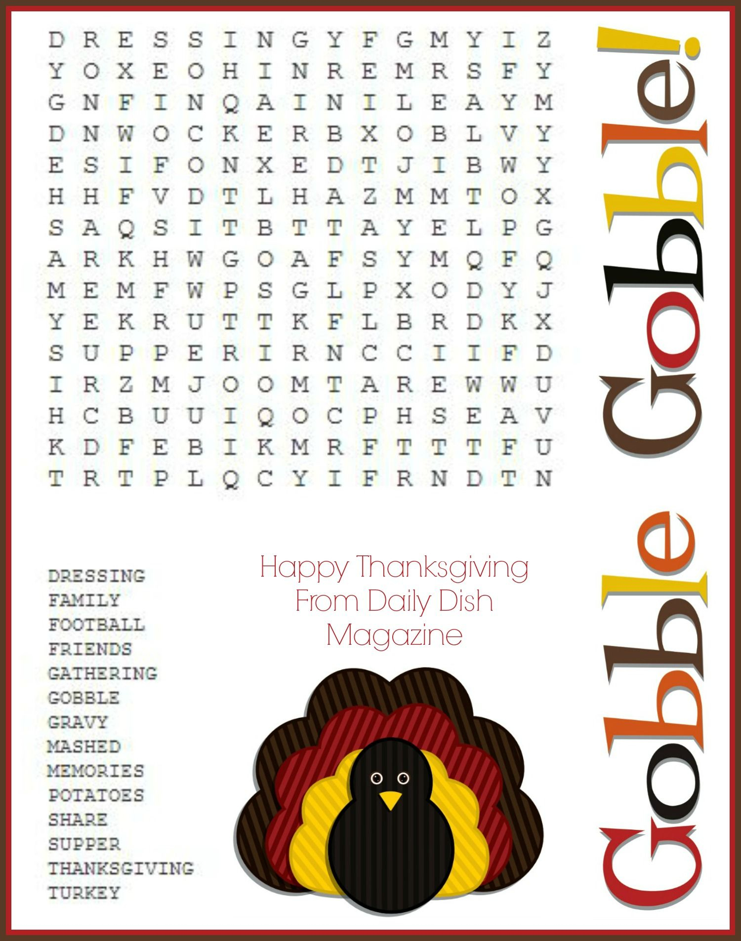 Printable Thanksgiving Puzzles | Printable Crossword Puzzles