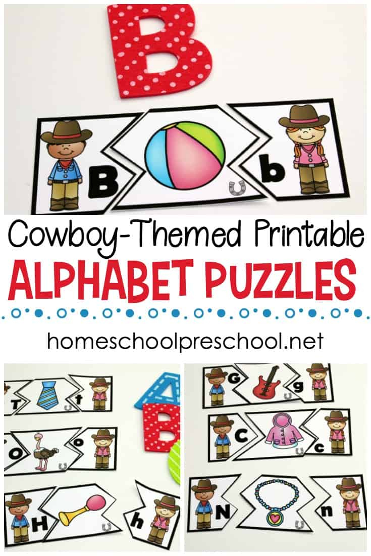 Free Wild West Themed Alphabet Puzzle Printables - Printable Matching Puzzle