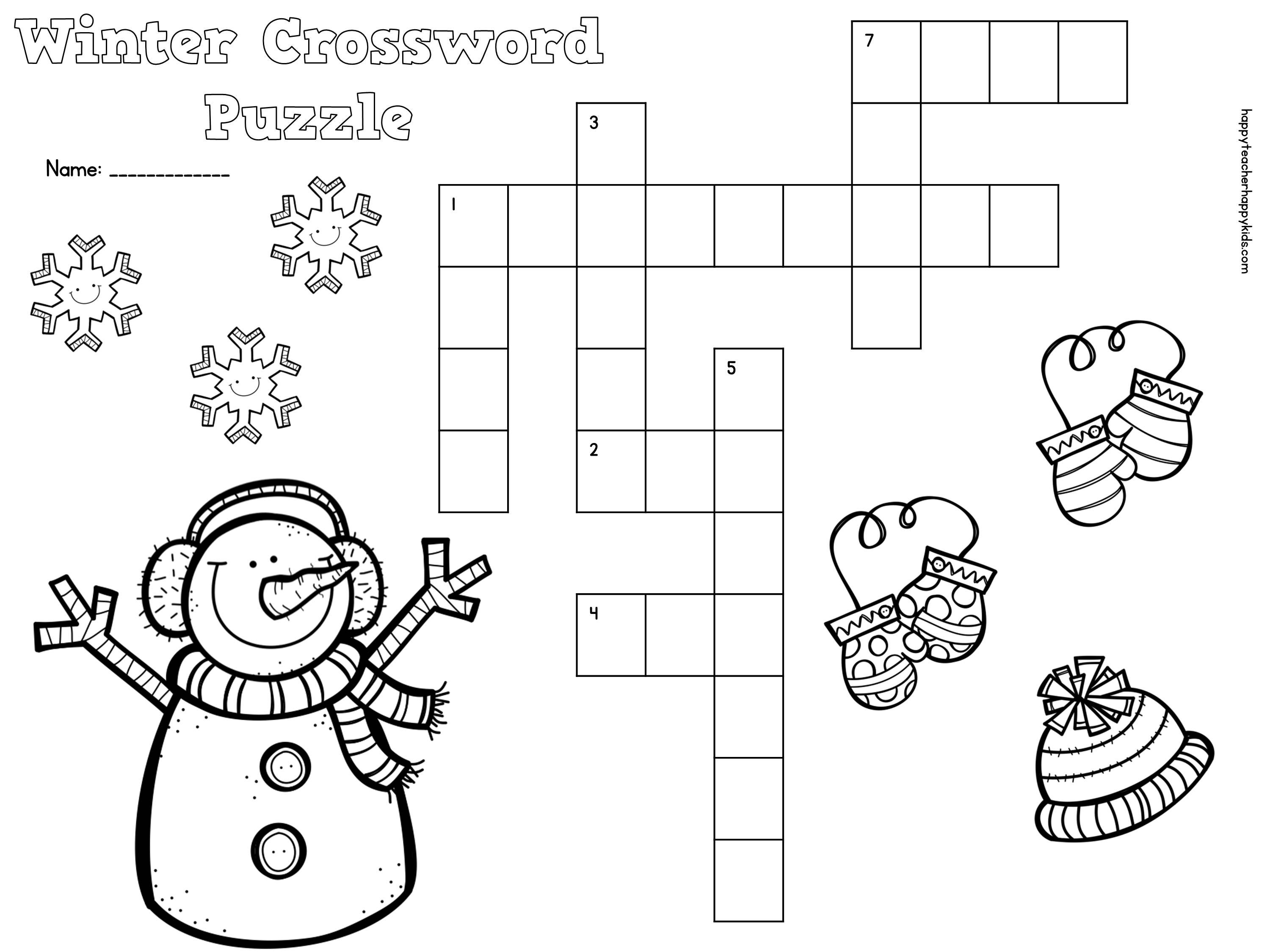 Free Winter Crossword Puzzle For Primary Students | Snow, Penguins - Printable Crossword Puzzles Winter