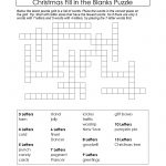 Freebie Xmas Puzzle To Print. Fill In The Blanks Crossword Like   Crossword Puzzles Printable 8Th Grade