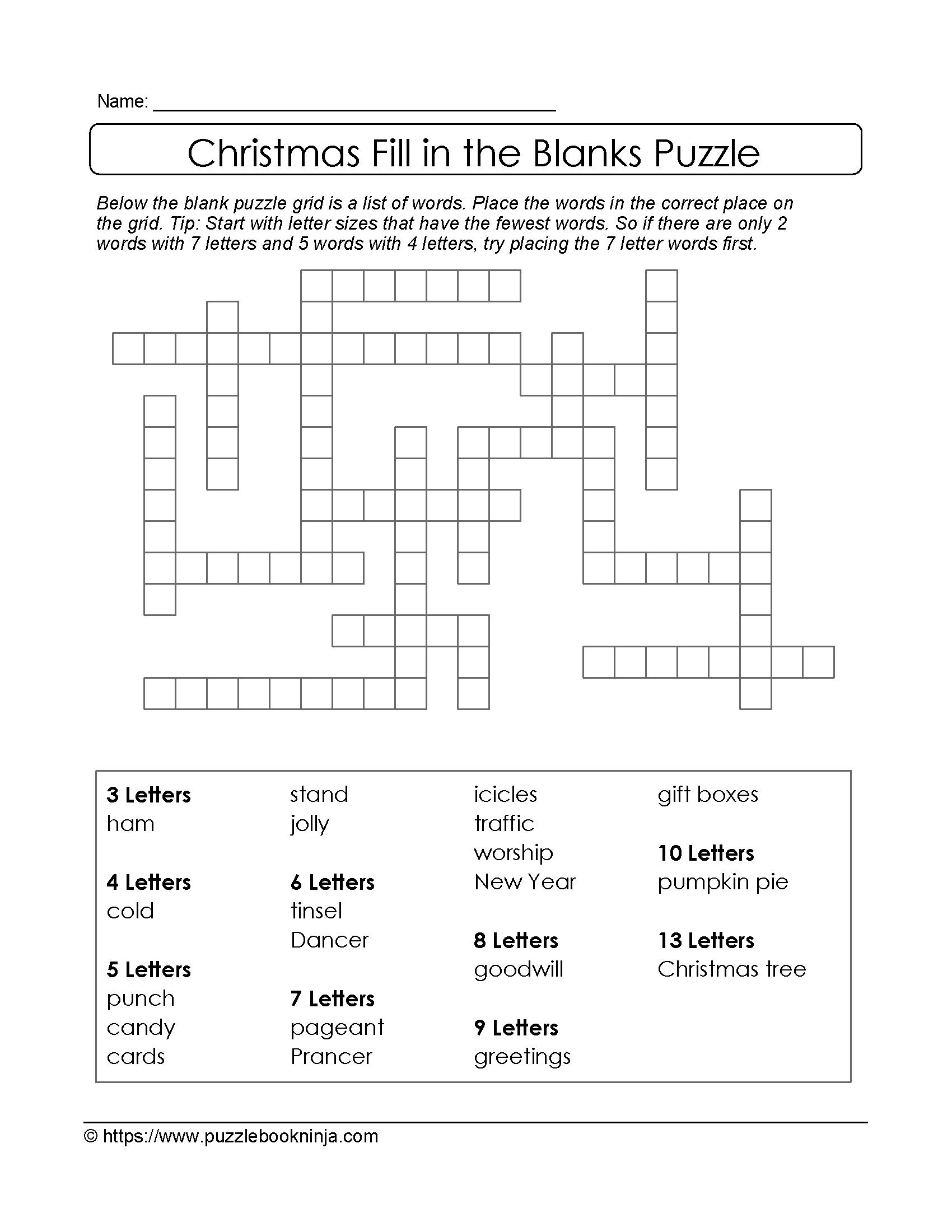 Freebie Xmas Puzzle To Print. Fill In The Blanks Crossword Like - Fill In Crossword Puzzles Printable