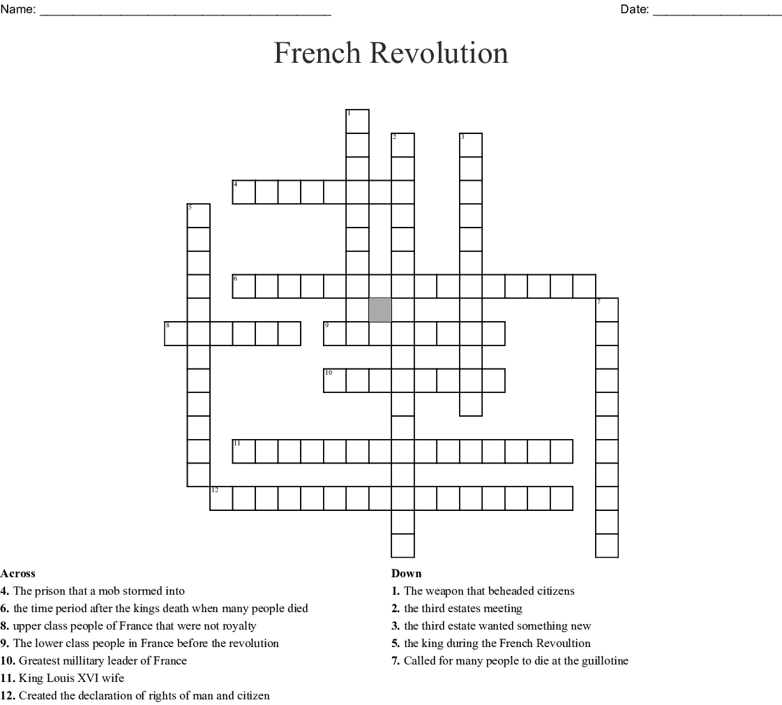 French Revolution Crossword - Wordmint - Crossword Puzzles In French Printable