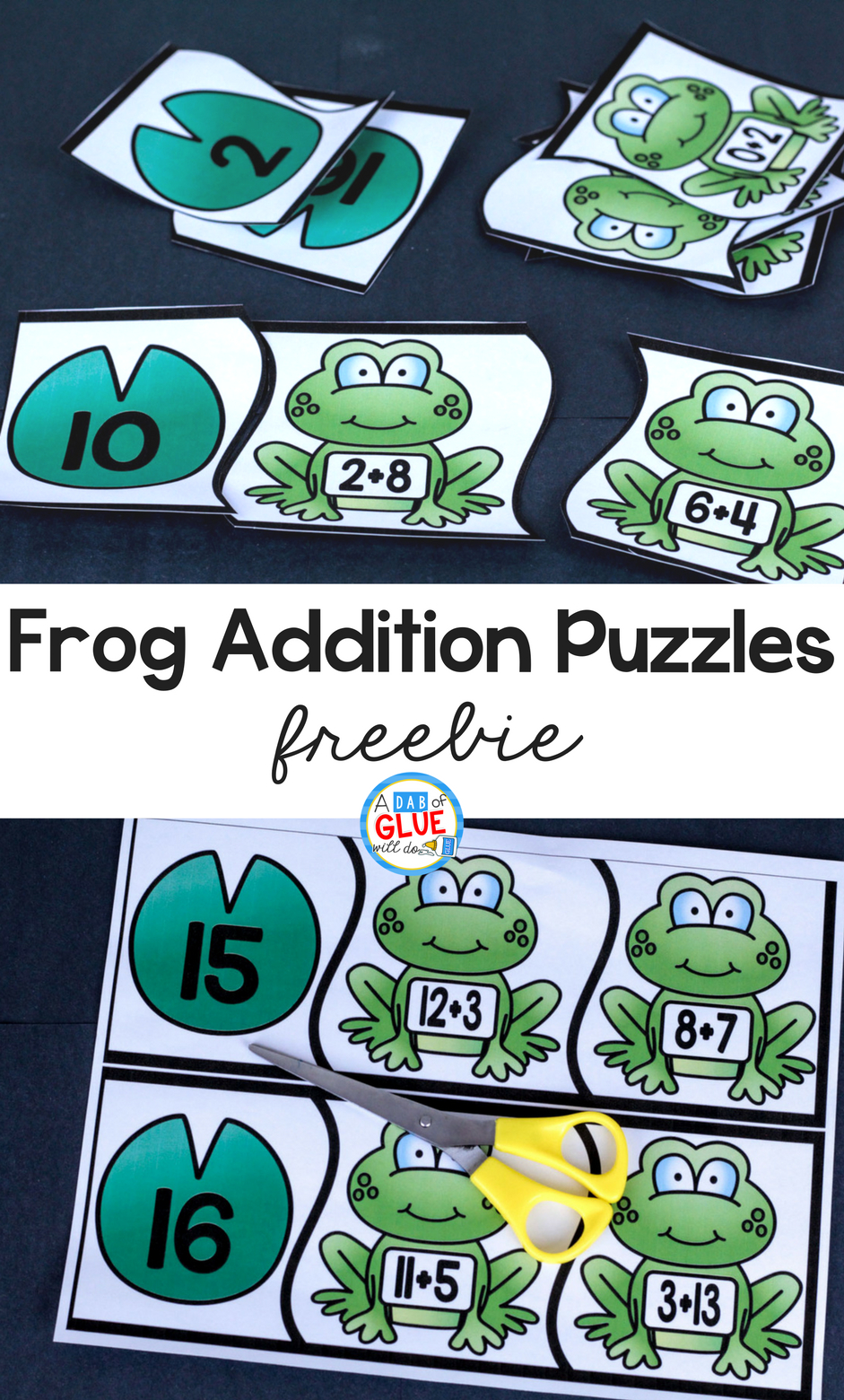 Frog Addition Puzzles - - Printable Frog Puzzle