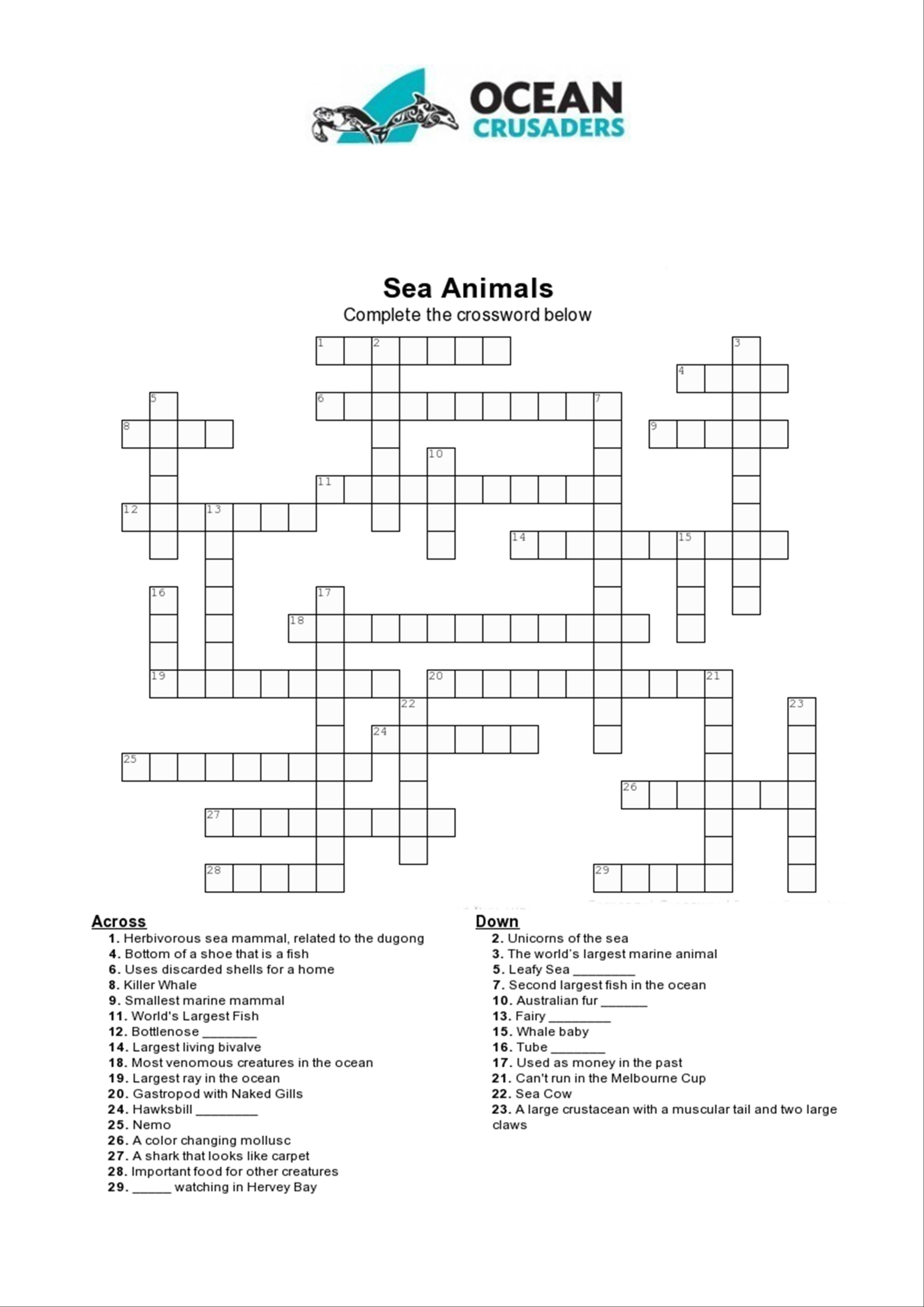 Games/puzzles – Ocean Crusaders - Printable Ocean Crossword Puzzles