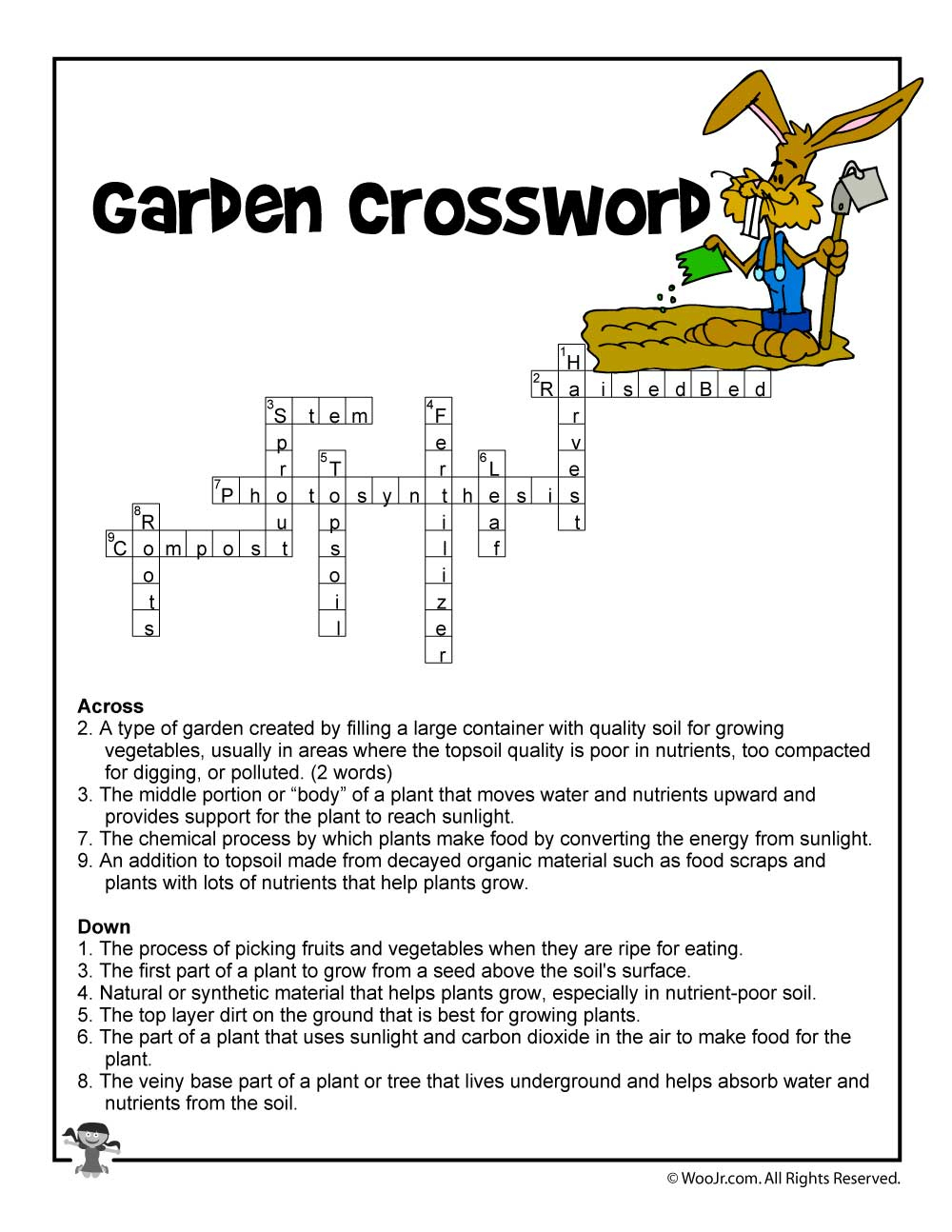 Garden Curriculum Crossword Answers   Woo! Jr. Kids Activities - Printable Gardening Crossword Puzzle