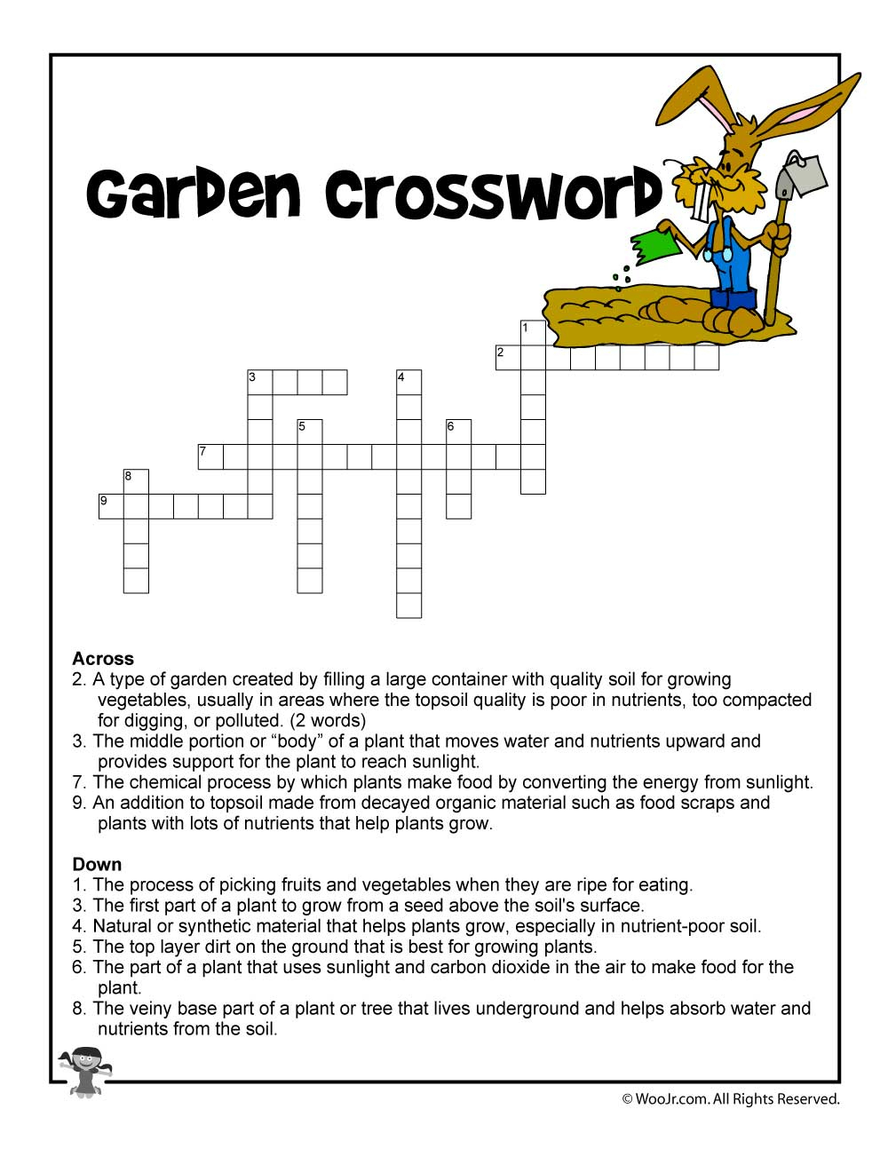 Garden Curriculum Crossword Printable | Woo! Jr. Kids Activities - Printable Garden Crosswords