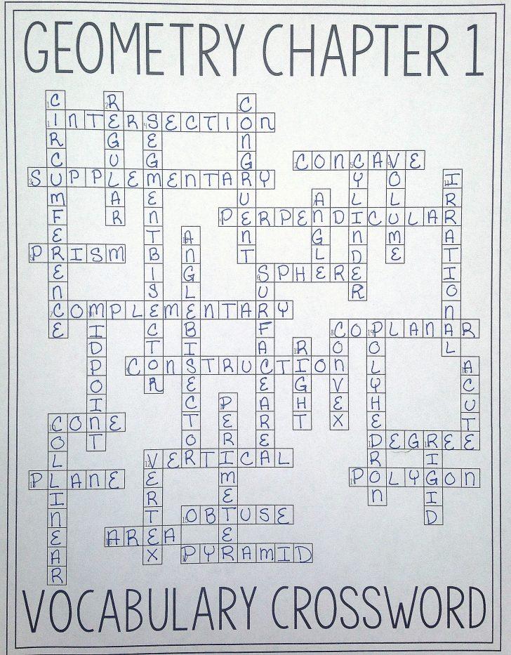 Math Vocabulary Crossword Puzzles Printable