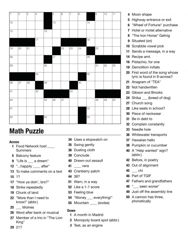 Printable Crossword Puzzles High School