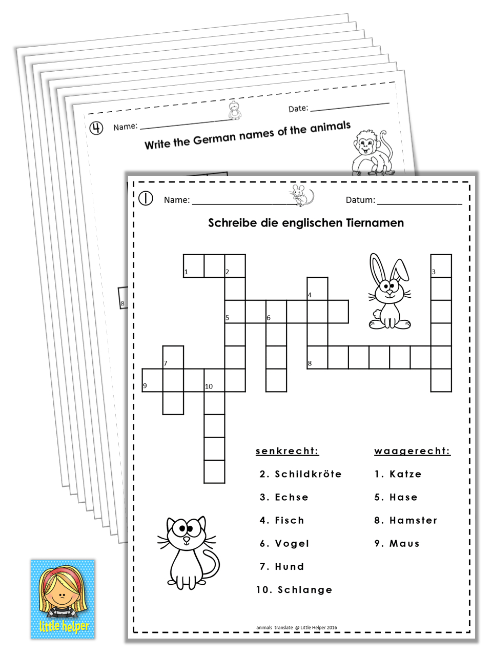 German/english Crossword Puzzles Tiere/animals | German Words - Zoo Crossword Puzzle Printable