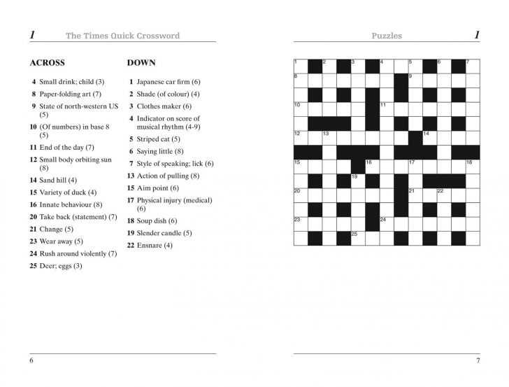 Free Printable Quick Crossword Puzzles