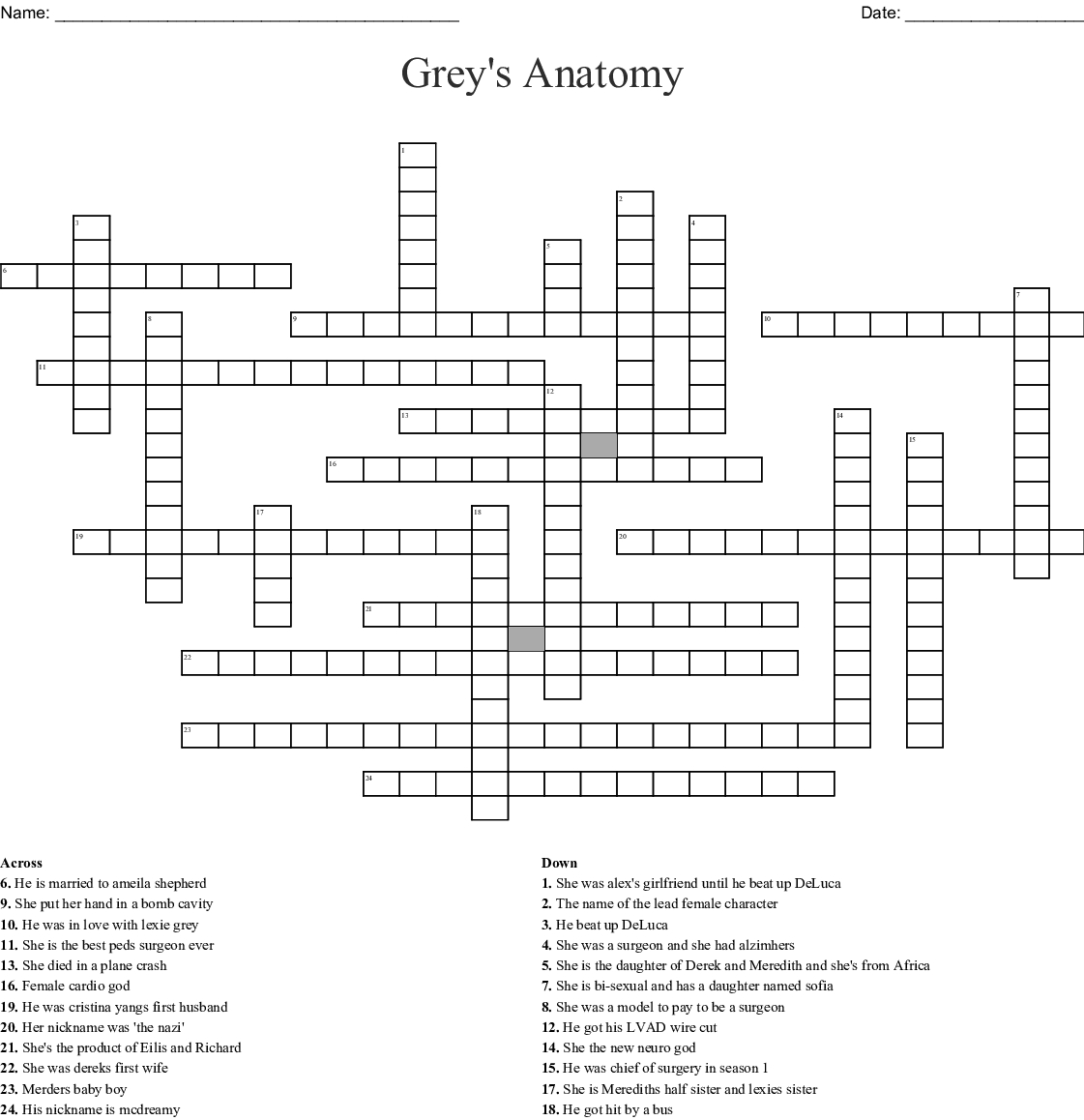 Grey's Anatomy Crossword - Wordmint - Printable Grey's Anatomy Crossword Puzzles