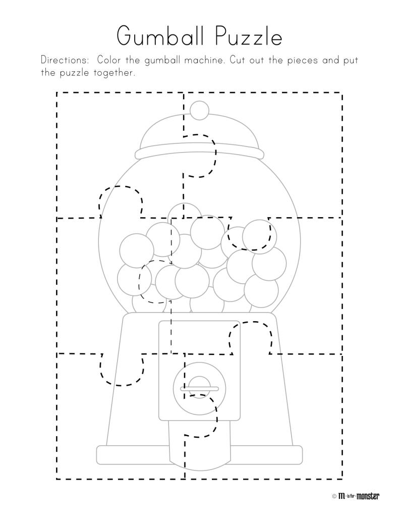 Gumball Puzzle Free Printable | Preschool/kindergarten | Free - Printable Puzzle For Preschool