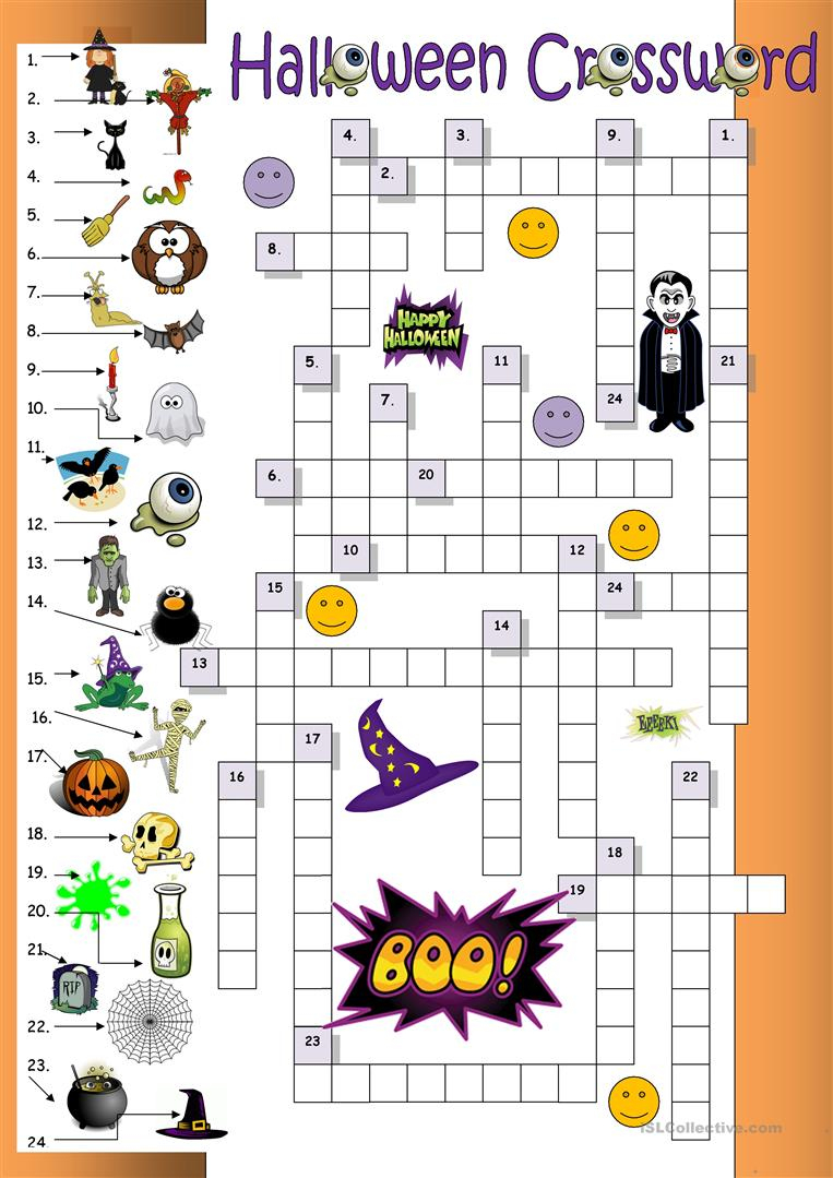Halloween Crossword For Beginners Worksheet - Free Esl Printable - Printable Crossword Puzzles Halloween