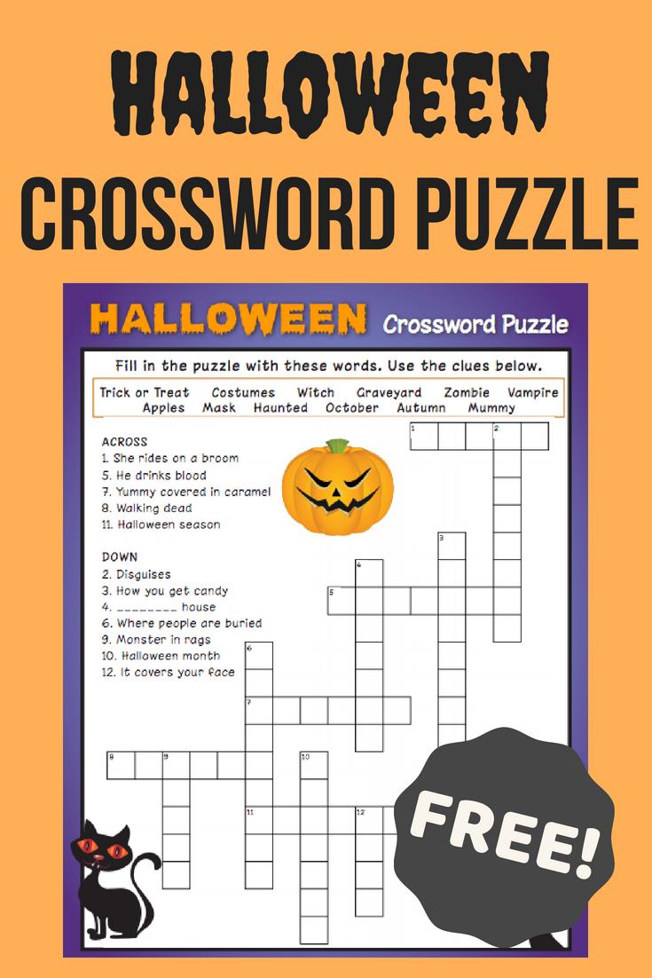 Halloween Crossword Puzzle #3 | Fall Fun | Halloween Crossword - Free Printable Crossword Puzzle #3