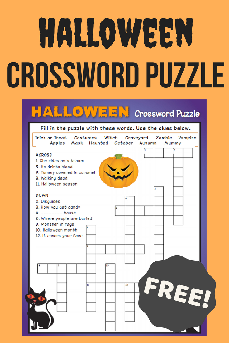 Halloween Crossword Puzzle #3 | Fall Fun | Halloween Crossword - Printable Crossword Puzzles #3