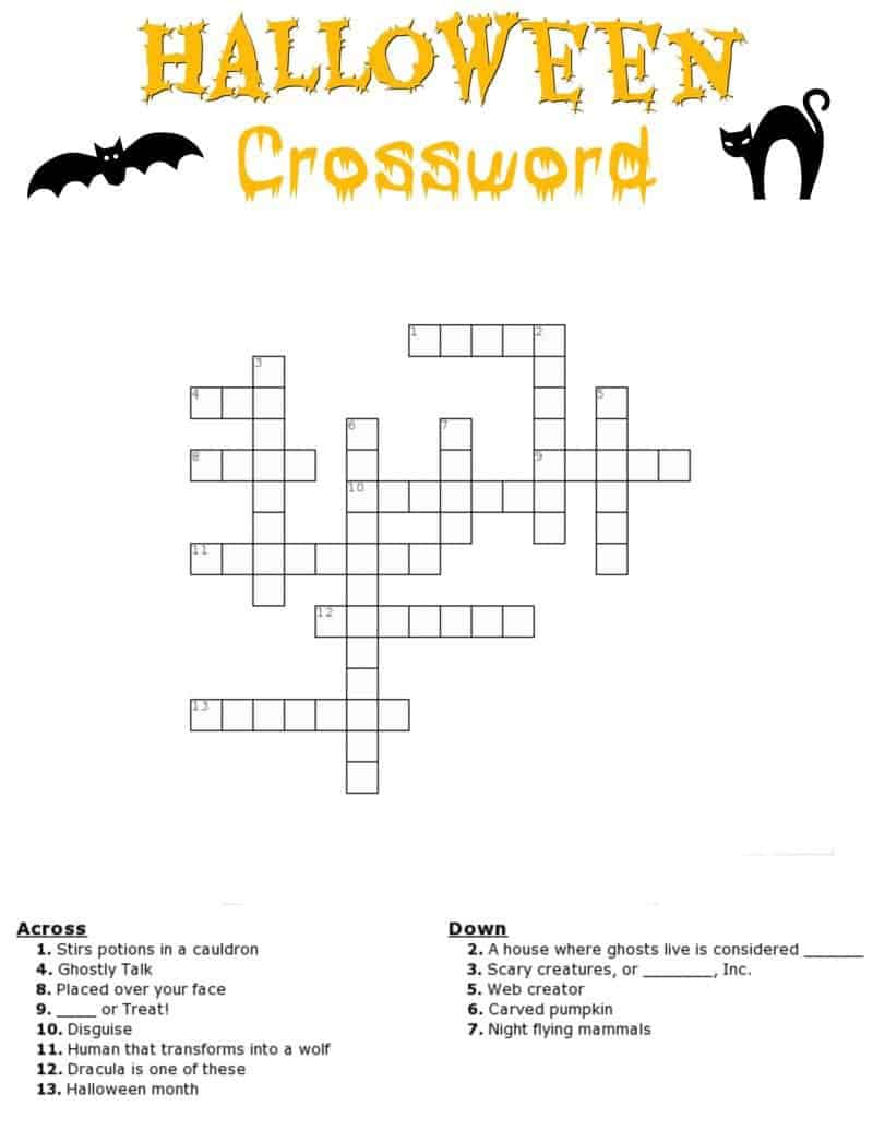 Halloween Crossword Puzzle Free Printable - Free Printable Halloween Crossword Puzzles