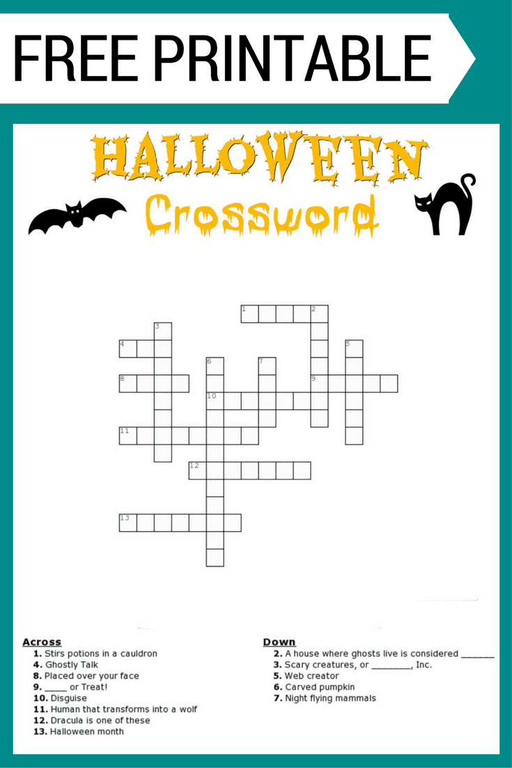 Halloween Crossword Puzzle Free Printable - Printable Crossword Puzzles Halloween
