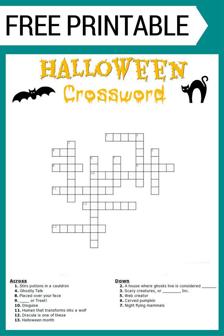 Halloween Crossword Puzzle Free Printable - Printable Halloween Crossword Puzzles Word Searches