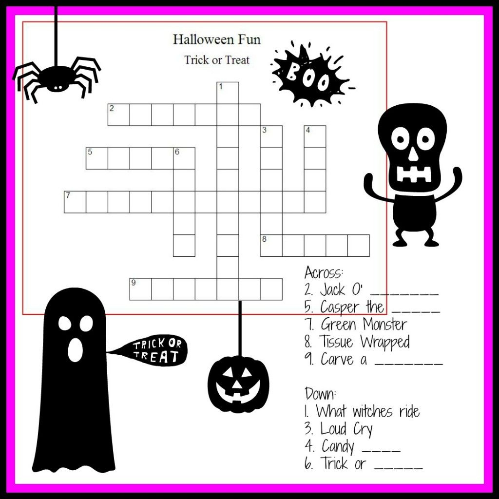 Halloween Crossword & Puzzles For Kids | ~All Hallows Eve - Printable Crossword Puzzles Halloween