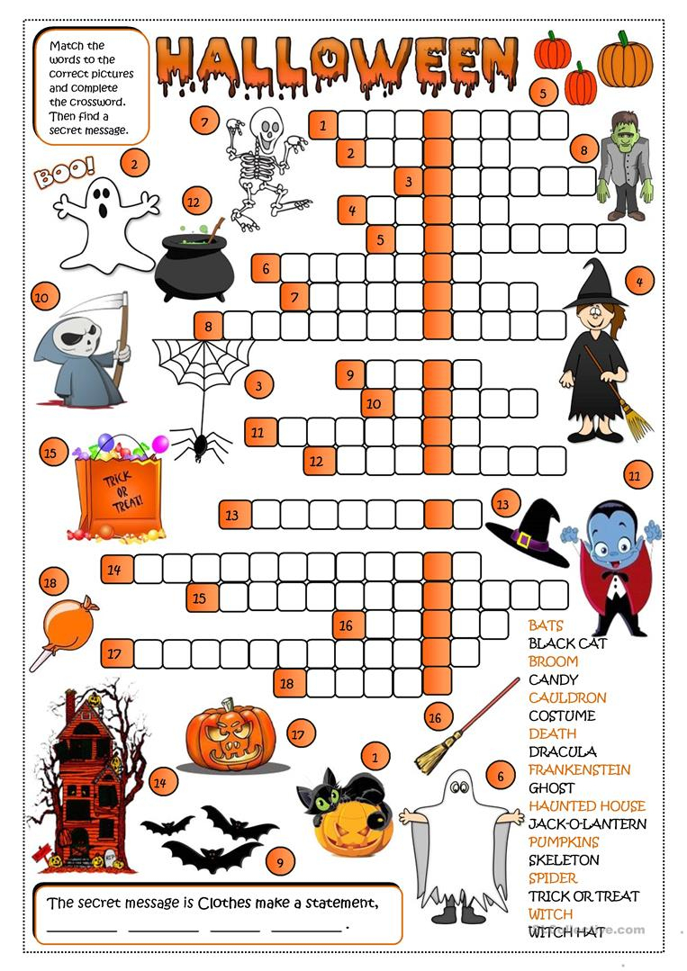 photograph relating to Halloween Crossword Puzzle Printable named Halloween - Crossword Worksheet - No cost Esl Printable
