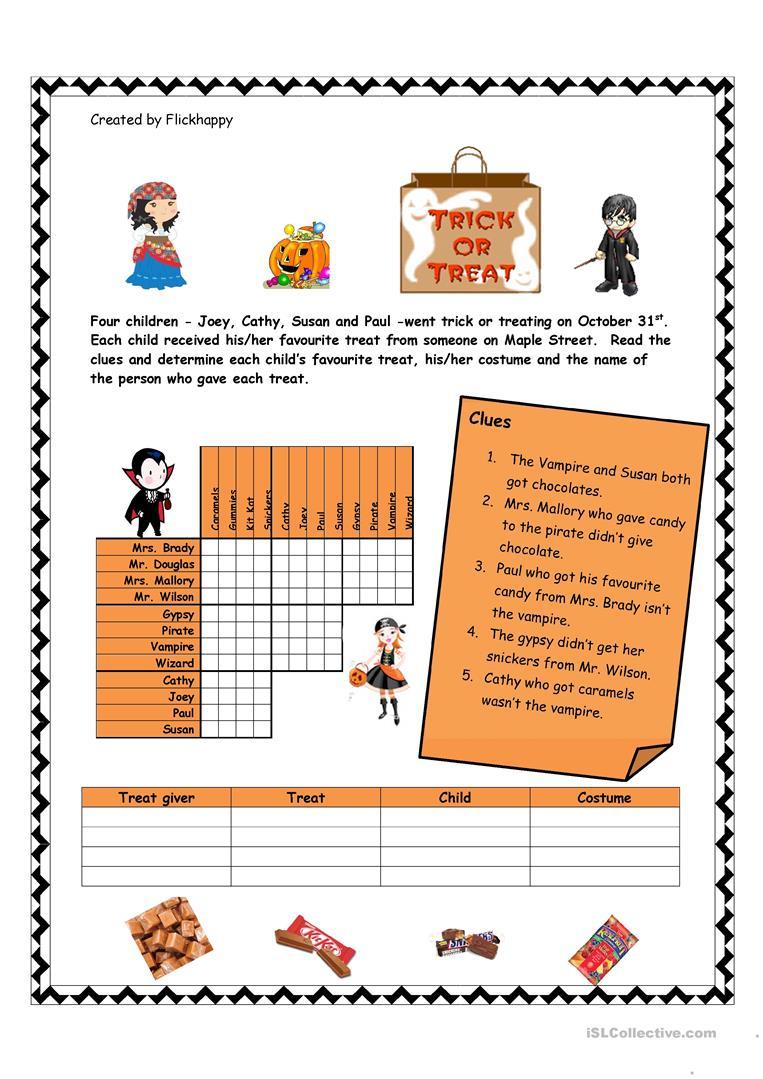 Halloween Logic Puzzle Worksheet - Free Esl Printable Worksheets - Printable Reading Puzzles