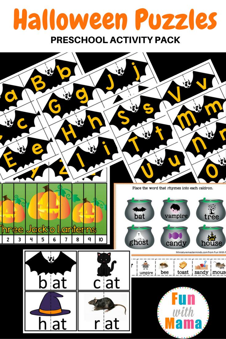 Halloween Puzzles Preschool Activity Pack - Fun With Mama - Printable Puzzles Preschool